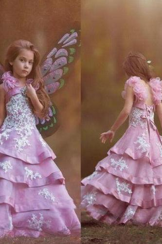 New Girls Tiered A-Line Flower Girl Dresses Princess First communion Dress Gown 489