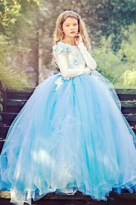 Cute Blue Tulle Little Girls Pageant Prom Dresses Long Sleeves Floor Length Graduation Gown Custom Made Flower Girl Dresses For Wedding ytz160