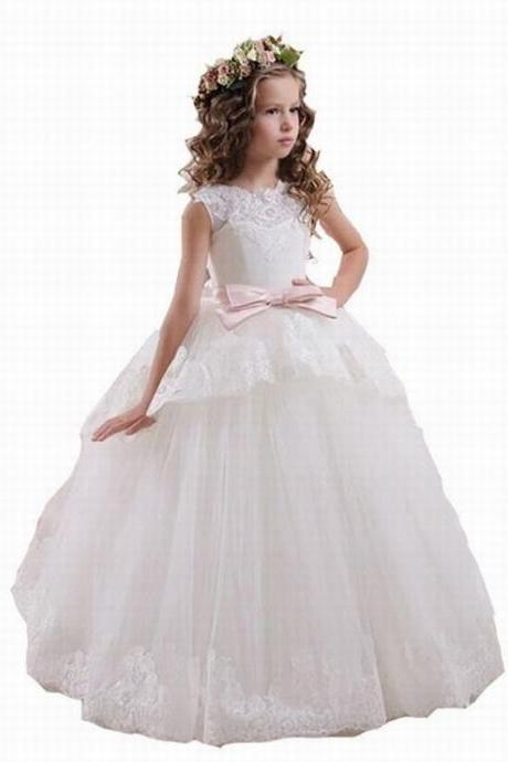 Flower Girl Dresses For Weddings Elegant White Pink Lace Sheer Tulle V Back Vestidos De Comunion Casamento ytz203 (1)