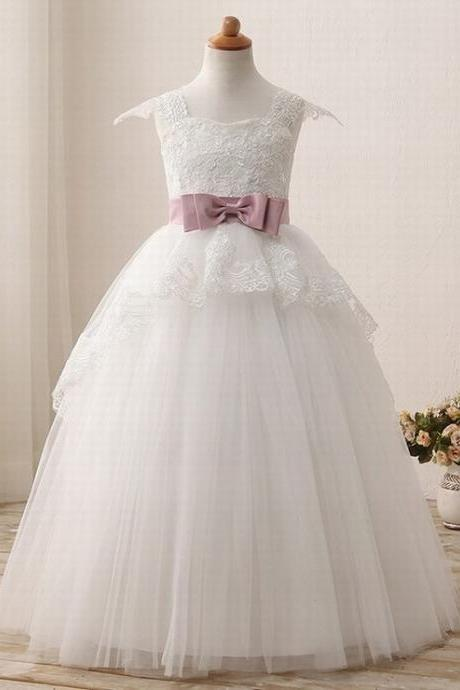 Dignified sleeveless Flower Girl Dresses for Weddings bow a-line First Communion Dresses for Girls boat neck floor-length ytz206 (1)