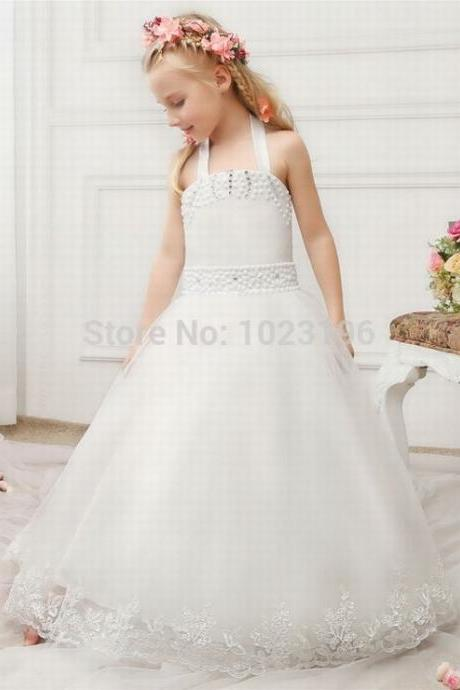 Real Photos New Long Ball Gown Halter Flower Girl Dresses Princess Girls Communion Dresses Vestidos de Daminha ytz222