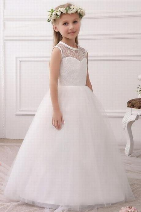 Princess Ivory Flower Girl Dresses Key Hole Back Ball Gown Girls First Communion Dresses vestidos de comunion ytz224