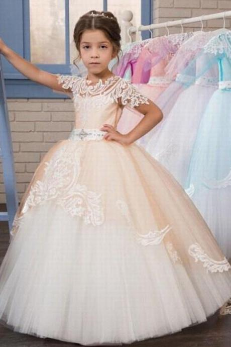 Princess Lace Flower Girls Dress With Short Sleeve Ball Gown Tulle First Communion Dresses ytz240
