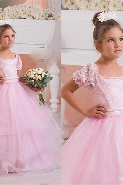 Tulle Christening Tutu Flower Girl Princess Pageant Prom Birthday Ball Gown ytz340