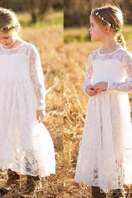 Bohemian Lace Flower Girl Bridesmaid Dress Princess Birthday Party Prom Gown ytz344