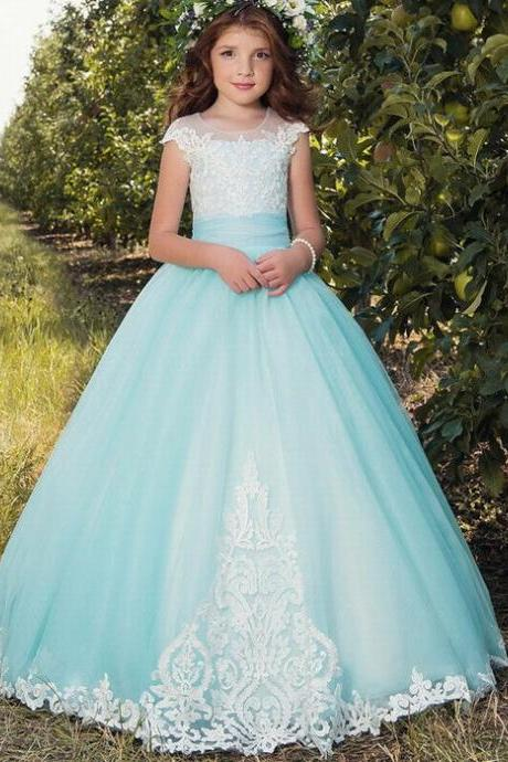 Kids New Princess Flower Girl's Dresses Ruffles Ball Gown Girl's Gowns For Wedding ytz351 (1)
