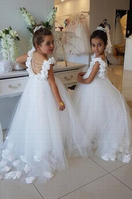 Opening Back White Tulle Flower Girls Dresses 2017 3D Flowers Peals Puffy First Communion Gowns For Girls Princess Pageant Dress st79 (1)