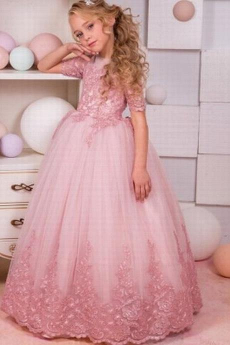 Puffy Tulle Pink Short Sleeve Flower Girls Dresses Kids Princess Pageant Dress st116