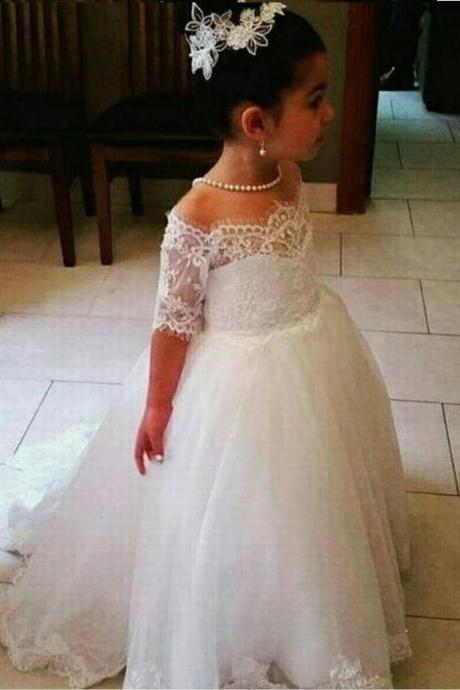 Puffy Tulle Half Sleeve Flower Girls Dresses Kids Princess Pageant Dress st133