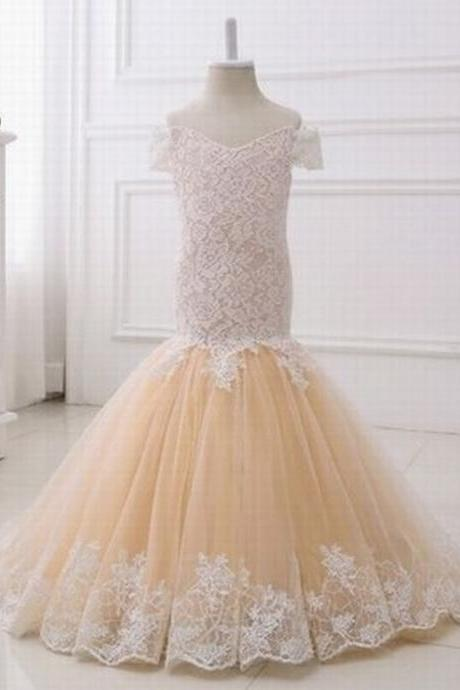 lace+tulle champagne flower girl dresses cheap size 2-14 teenage dress for wedding party birthday st148
