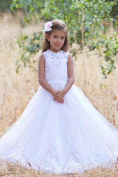 White Flower Girl Dress Holiday Dress Birthday Dress Princess Lace Girl Dress White Wedding Girls Party Dress First Communion Baptism Dress xk52 (1)