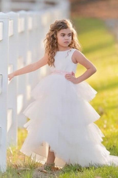 HighLow Satin and Tulle Flower girl dress with made to match rhinestone belt xk103 (1)