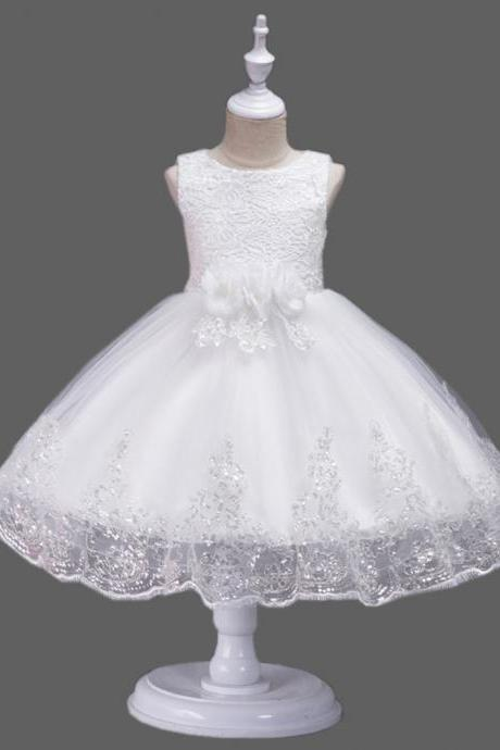 White Lovely Lace Appliques Beaded Flower Girl Dresses Kids Evening Gowns For Wedding First Communion Dresses vestido comunion