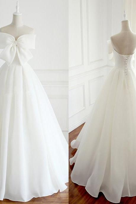Elegant Big Bows White Wedding Dress Long Evening Prom Dresses With Bows Wedding Party Birthday Dresses 18LF08