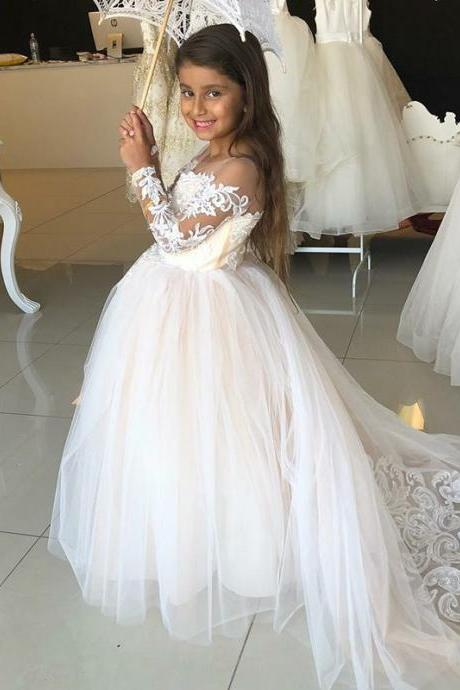 A-Line Round Neck Light Champagne Flower Girl Dress with Appliques 102-1