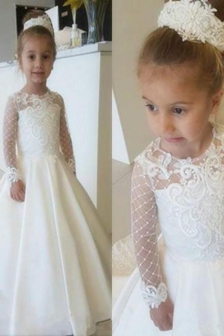 Tulle First Communion Dress For Girls Lace Long Sleeve Flower Girl Dresses Cute Bow Girls Pageant Dress Party Gown 105