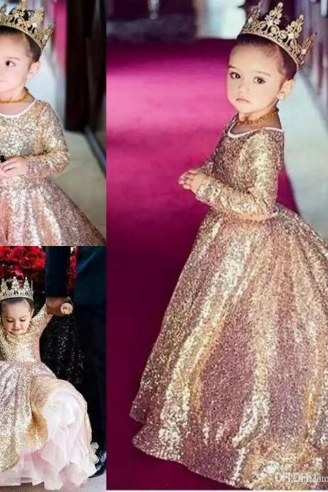 Champagne Sequin Lace Ball Gown Kids Flower Girl Dresses Kids Birthday Weddings Holy Communion Gowns 108
