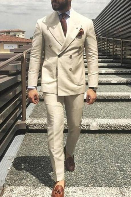 Custom 2 Piece Mens Suits Latest Coat Pant Designs Ivory Beige Double Breasted Men Suit Formal Slim Fit Gentle Blazer