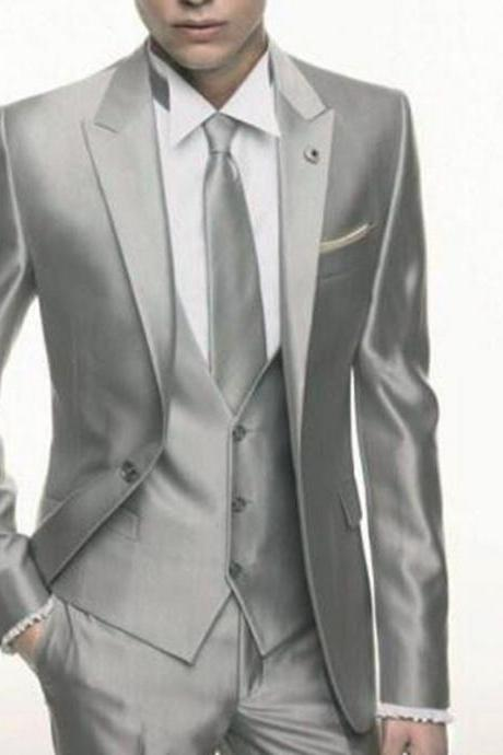 Silver Grey Satin Wedding Tuxedos Formal Skinny Stylish Male Blazer Party 3 Piece Vestidos Mens Suits for wedding