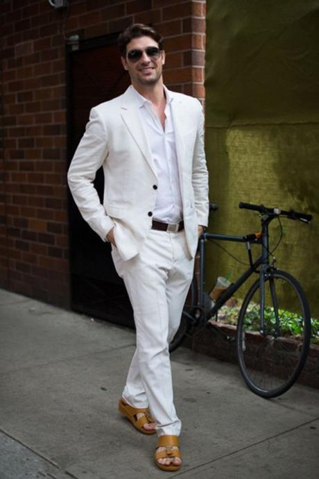 Fashion Ivory/White Linen Casual Men Suits Summer Beach Tuxedo Simple Custom Made 2 Piece Mens Suits(Jacket+Pants)