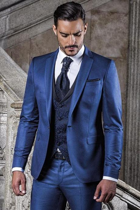 Custom Made Blue Slim Fit Mens Blazers Suits wedding Groom Mens Wedding Wear Wedding Men Suit Tuxedo