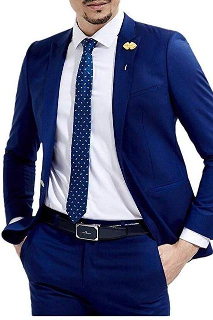 2 Pieces Italian Stylish Men Wedding Men Suit 2019 Slim Fit Tuxedos For Party Groom Mens Suits (Jacket+Pants+Tie)