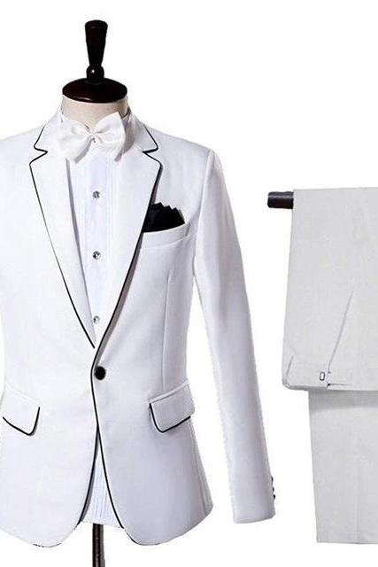 2 Pieces Men Suit Slim Fit Wedding Suits for Men Tailor Made Fashion Suits Groom Tuxedos (Jacket+Pants+Bow Tie)