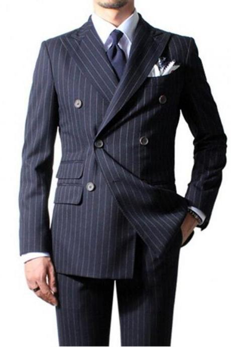 Custom Made Chalk Stripe Men Suits Navy Blue Mens Striped Suit Tailored Double Breasted Men Suits