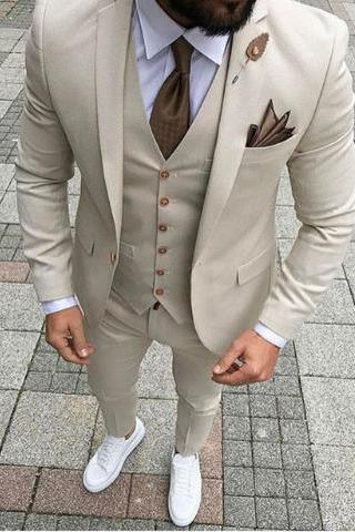 2019 Custom Made Slim Fit Smoking Formal Tuxedo Beige 3 Pieces Wedding Suits For Men Groomsman Suits