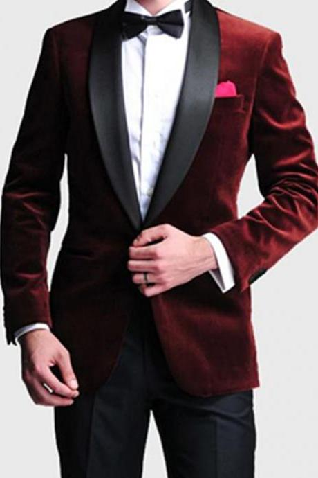 Fashion Style One Button Dark Red Men's Wedding Prom Suits Bridegroom Groom Velvet Groom Tuxedos men suit (Jacket+Pants+Bow Tie)
