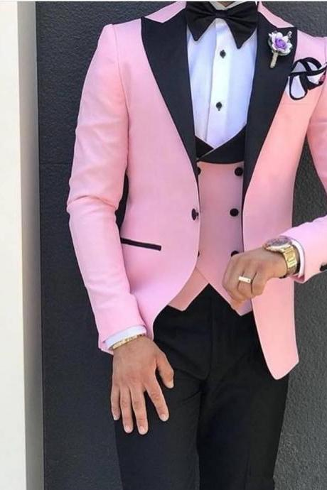 Custom Made 3 Piece Wedding Mens Suit Pink With Black Lapel Suits for Men Custom Made Terno Slim Groom Suits(Jacket+Pant+Vest)