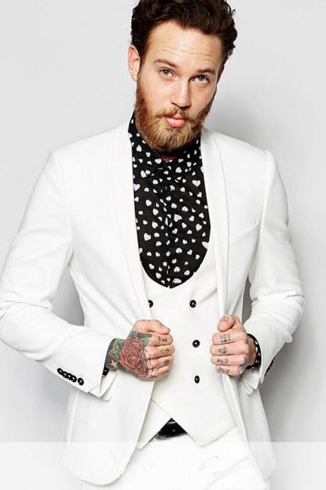 Latest Skinny 3 Pieces Masculino White Shawl Lapel Double Breasted men suit 2019 Beach Tuxedo Men Suits Blazer