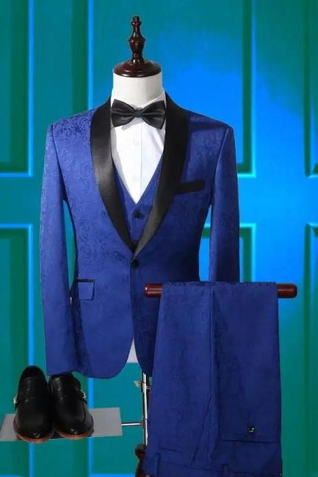 Fashion 3 Piece Men Suit Slim Fit Formal Wedding Party Groom Tuxedos Men Blazer (Jacket+Pants+Vest+Bowtie)