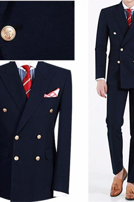 Latest Design Fashion Terno Masculino Navy Blue Peaked Lapel Double Breasted Suits 2 Pieces(Jacket+Pant)