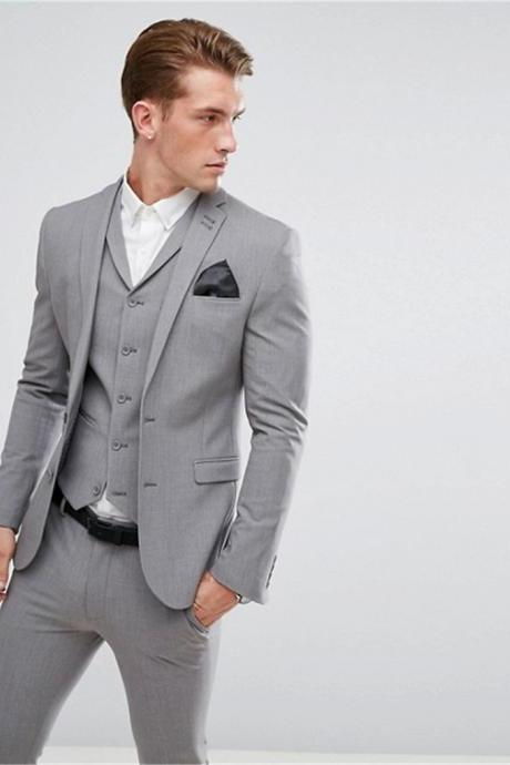 Gentleman Grey Men Suits Slim Fit 3 Pieces Notch Lapels Two Button Business Tuxedos (Jacket+Pants+Vest)