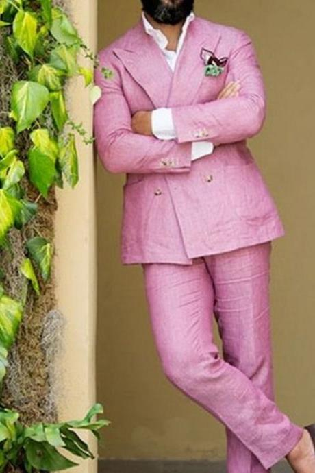 Latest Coat Pant Designs Double Breasted Pink Linen Men Suit Slim Fit Tuxedo Summer Custom 2 Piece Jacket Terno Mens Suits