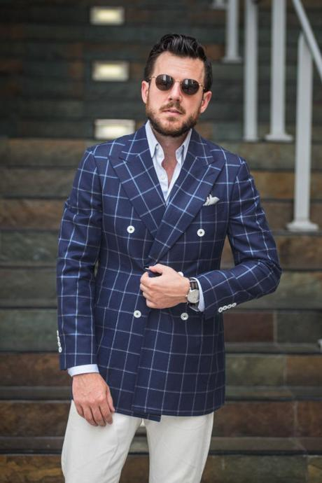New Arrival Mens Checkered Suit Windowpane Fashion Men Suits Custom Made Checkered Man Wedding Double Breasted men Suit