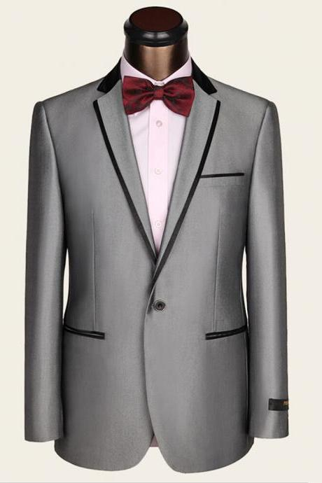Slim Fit Formal Wear Groom Men Wedding Suit Silver Gray Prom Blazer with Pants for Wedding Tuxedos