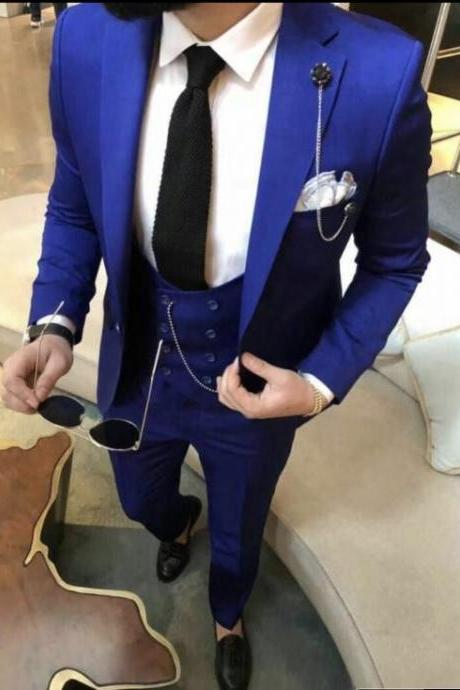 3 Pieces Blue Men Suit Wedding Suits Slim Fit Tuxedo Groom Groomsman Best Man Slim Fit Mens Business Suits ( Jacket+Pant+Vest)