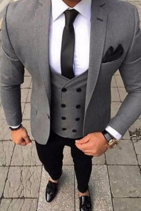 2019 Custom Tailored Smoking Grey 3 Piece Tuxedo Groom Wedding Suits Jacket Custom Prom Men Suit Slim Fit Blazer Terno Masculino