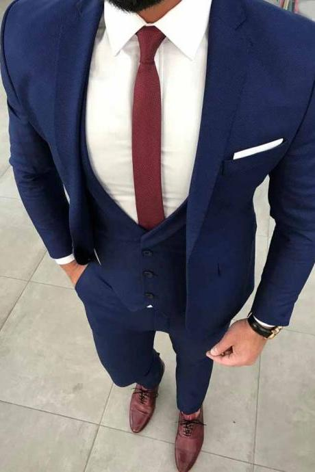 Latest Fashion3 Piece Groom Style Mens Suits Wine Red Men Wedding Suit 2019 Prom Tuxedo Slim Fit Custom Blazer Terno
