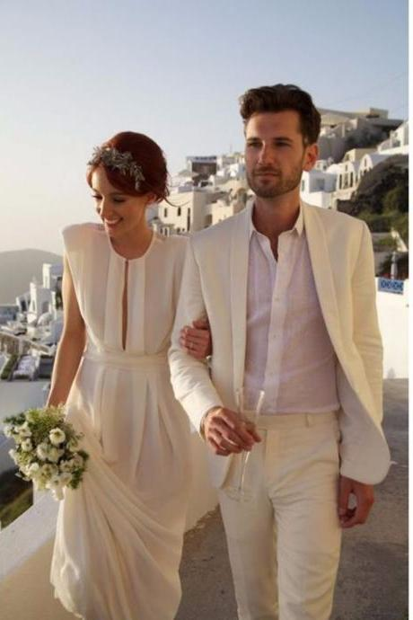 2019 Ivory Linen Suit Sharp Groom Bridal Suit Men Off White Linen Blazer Mens Linen Suits For Wedding Tuxedos