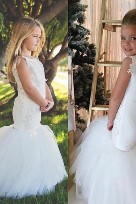 2019 Mermaid Flower Girls Dresses for Wedding Party Trumpet Kids Little Girl Pageant Communion Dresses Cute robe fille mariage