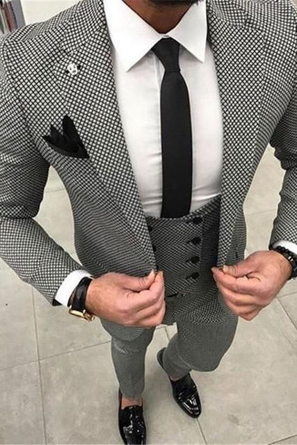 Custom Made Mens Checkered Suit Dresses Tailored black Weave Hounds Tooth Check wedding men suits jacket+pants+vest