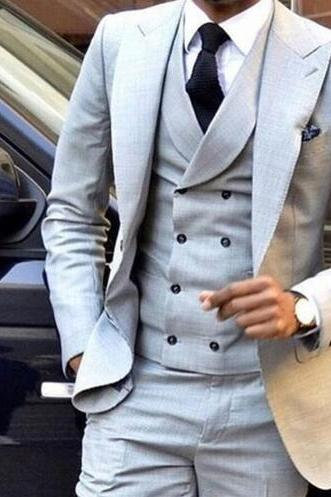 Grey Men Suits For Wedding 3Pieces(Jacket+Pant+Vest+Tie) Latest Design Terno Masculino Groom Custom Made Fashion Blazer