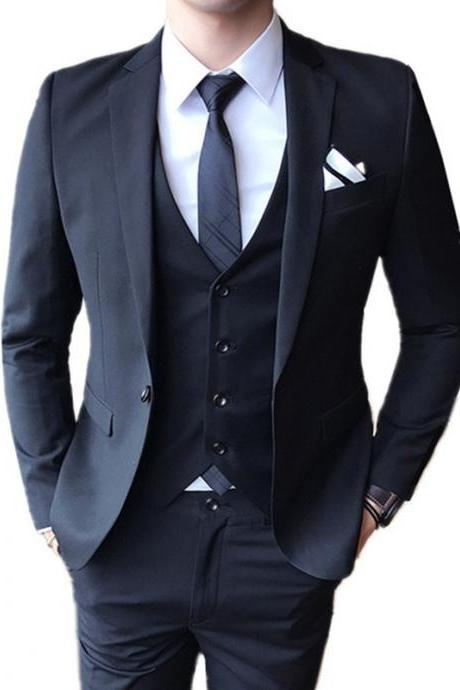 Blazers Pants Vest 3 Pieces Sets 2018 fashion new men's casual boutique business wedding groom suit jacket trousers waistcoat