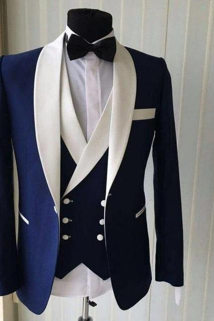 Custom Made Groomsmen Shawl White Lapel Groom Tuxedos Blue Men Suits Wedding Best Man Blazer (Jacket+Pants+Vest+Bow Tie )