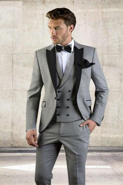 Grey Men Suit Slim Fit Jacket With Black Tuxedo Custom Made Blazer Wedding Groom Suits 2018 (Blazer+Pants+Vest)