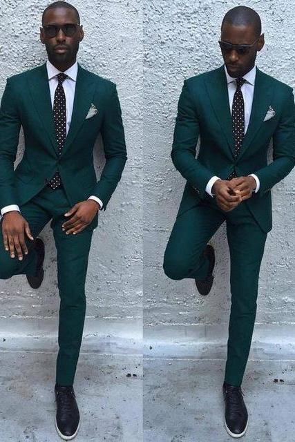 Dark Green Slim Men Suits 2019 Handsome Mens Wedding Suits Groomsmen Groom Tuxedos Party Prom Business Suits (Jacket+Pants+Tie)