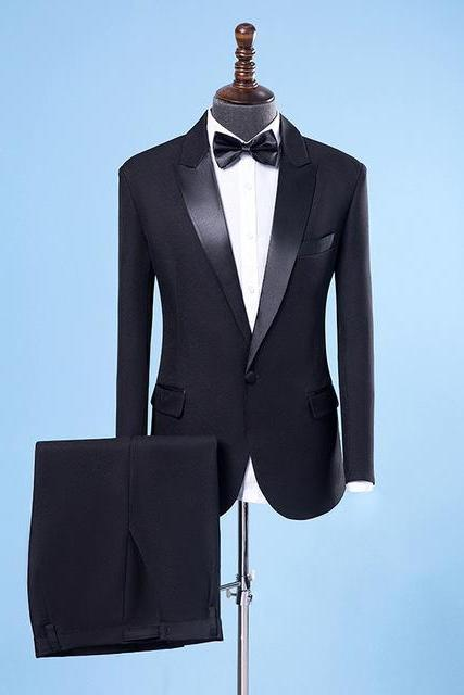 2018 Men's Wedding Suits For Men Shawl Collar 2 Pieces Slim Fit Luxury Show Singer Suits Mens Black Tuxedo Jacket+Pants